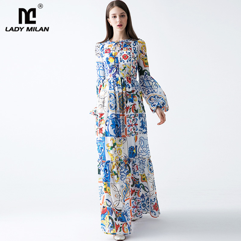 New Arrival 2018 Womens O Neck Long Sleeves Floral Printed A Line High Street Fashion Designer Casual Dresses