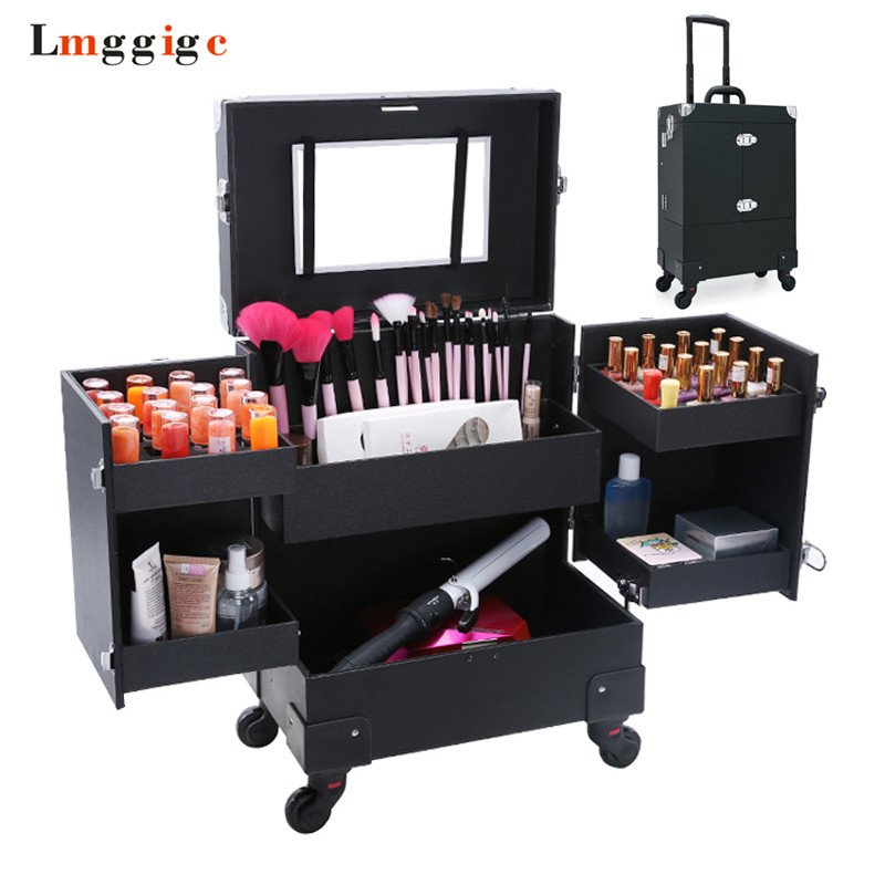 Cosmetic Bag with Rolling,Wheel Makeup Toolbox,Makeup Nails Tools bag,Trolley Suitcase Case,Beauty Box Travel Luggage kundui aluminum frame profelssional makeup beauty lighting rolling luggage travel trolley light make up case bag suitcase box