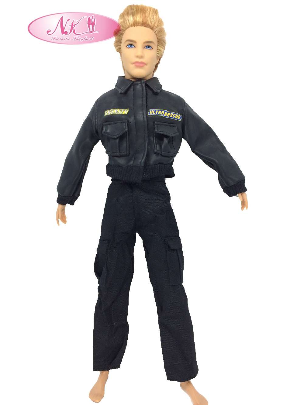 NK Unique Prince Garments Fight Police Uniform Cop Outfit For Barbie Boy Male Ken Doll For Lanard  1/6 Soldier  Greatest Reward 018A