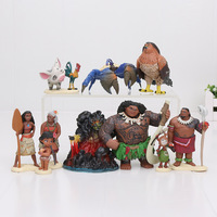 Moana 10pcs Set Princess Moana Maui Waialik Heihei Moana Adventure Pack Kawaii PVC Figures Toys For