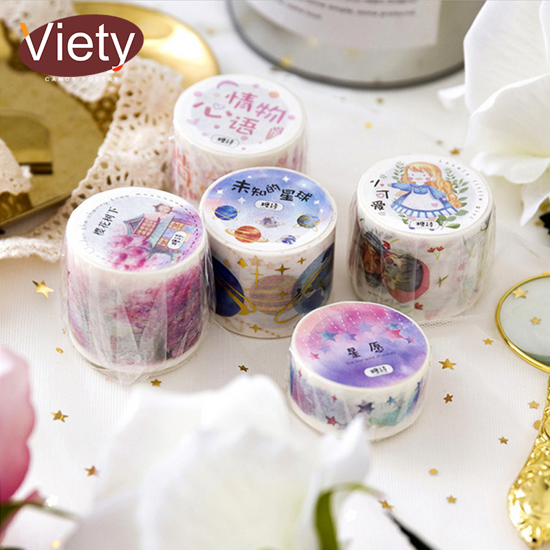 2-4cm*5m Cherry tree Planet washi tape DIY decoration scrapbooking planner masking tape adhesive tape label sticker stationery 10cm 5m korean natural style deco masking tape planet flowers design washi tape diy scrapbooking diary creative stationery