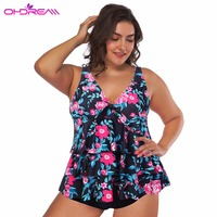 OHDREAM 2018 New Large Swimsuit Floral Women Plus Size Swimwear Push Up Two Piece Tankini Bathing Female Suit Swimming Skirt C
