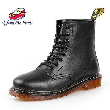 Marca o transporte Da gota dos homens Botas Sapatos De Inverno de Couro Da Motocicleta Mens Ankle Boot Martens Doc Martins Outono Homens Oxfords Sapato