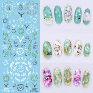 Image 3 - 1 arkusz motyw świąteczny kalkomanie do paznokci woda zimowa naklejki do przenoszenia płatków śniegu Xmas Deer Nail Art Slider tatuaż naklejany dekoracja