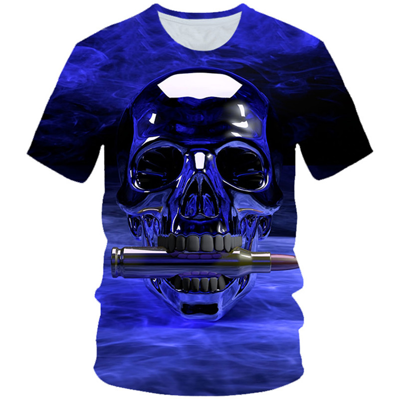 T-Shirt Boys Punk-Style Halloween Skull-Head Fire Bullet-Print Girl Children Summer Blue