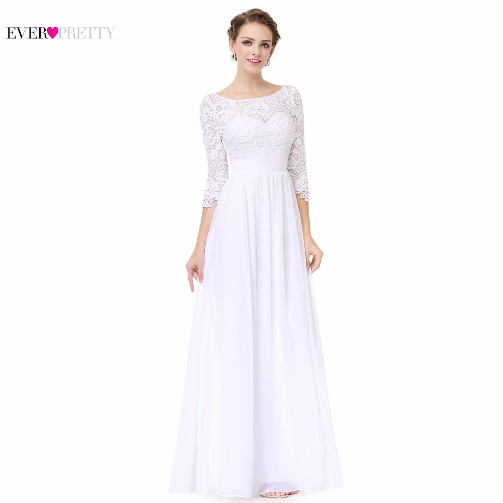 Mother Of The Bride Dress White Chiffon A Line EP08412WH Ever Pretty Scoop Neck 3 4 Sleeve Lace Floor Length In Underwear From Kids On