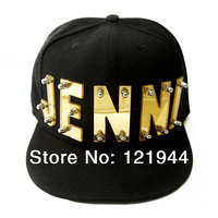 Personalized Acrylic Hat Custom Mirror Acrylic Initial Big Statement Letter Cap Hip Hop Black Hat Stainless