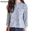 Hojas de otoño Bordado Camisa de Manga Larga Mujer Blusas Y Camisas de Mujer Casual de Las Señoras Tops de Rayas Más El Tamaño Blusa de la mejor venta