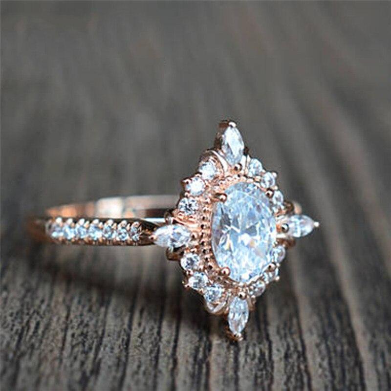ROXI Luxury Rose Gold Shining Oval Zircon Rings For Women Fashion Jewelry Inlay Rhinestone Engagement Wedding Ring anillos mujer