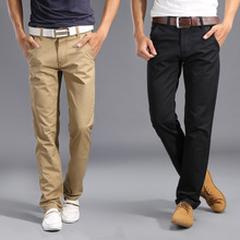2017 New Design Casual Men pants Slim Pant Straight Trousers Fashion Business Solid Khaki Black Pants Men High Quality 28-38
