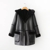 2017 Winter Jacket Women Casual Faux Fur Coat Black Womens Long Sleeve Shearling Coat Women Hooded