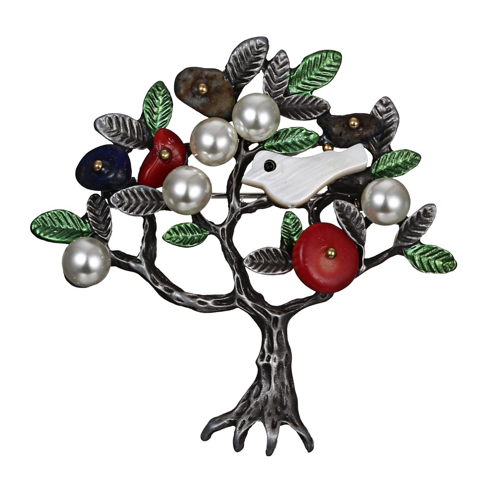 Rinhoo Vintage Natural Stone Brooch Retro Tree Shape Imitation Pearl Pins Brooches Jewelry for Women Special Gift