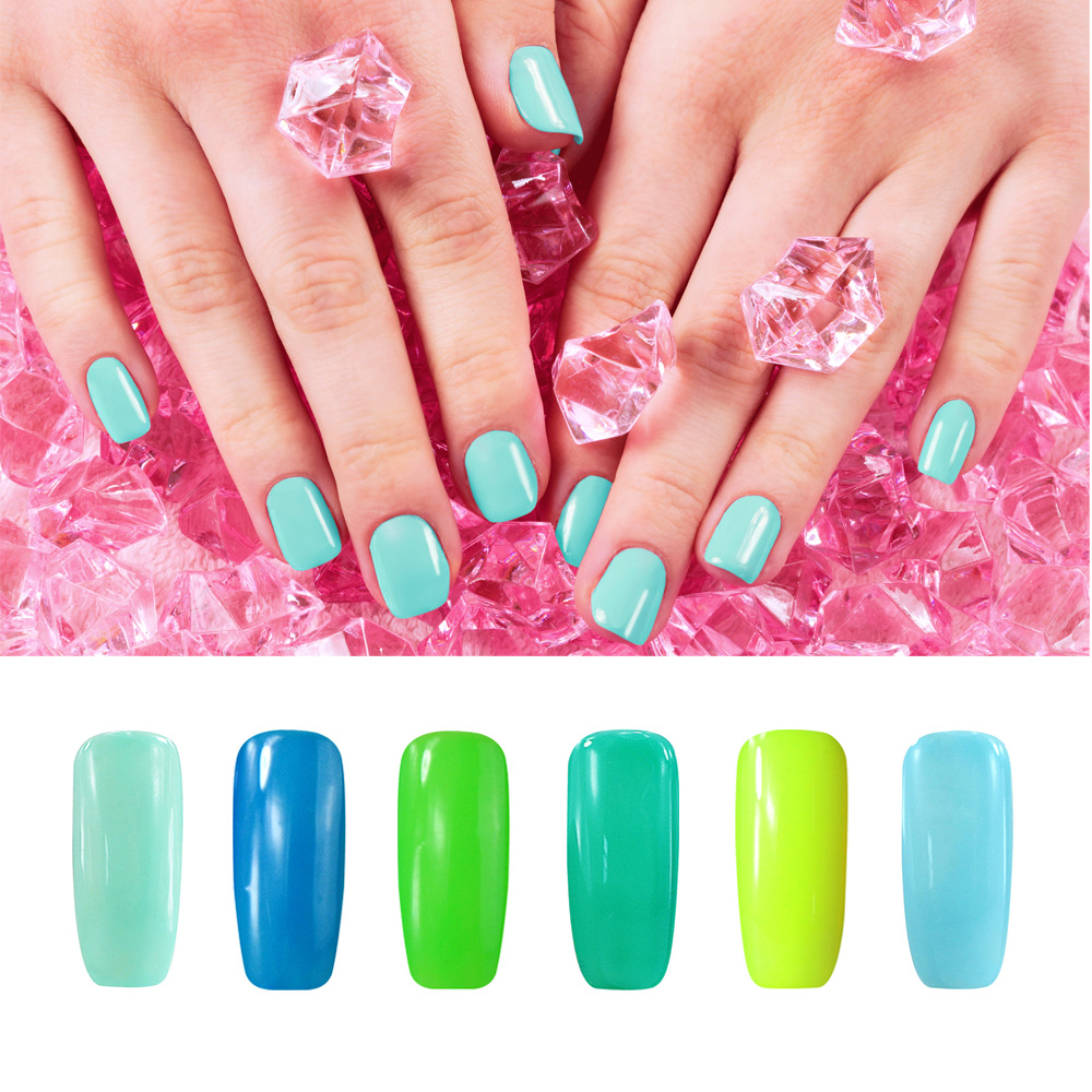 Gel Nail Polish French Manicure: Smiling Angel Blue Green Gel Nail Polish For French