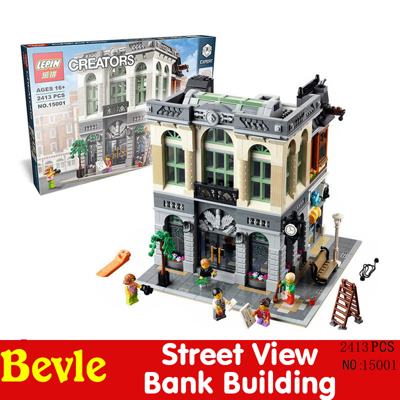 LEPIN 15001 2413Pcs City Series Creator Brick Bank Model Building Kits Minifigure Blocks Bricks Toy Compatible with Legoe 10251 hot free wholesale retail chrome brass water kitchen faucet swivel spout pull out vessel sink single handle mixer tap mf 264