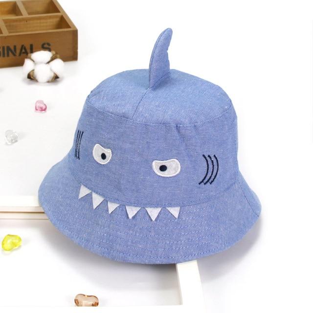 ae7f7a45cca ideacherry Children s Denim Cotton Sun Hat Baby Shark Design Toddler Kids  Summer Bucket Hat Cartoon Boys