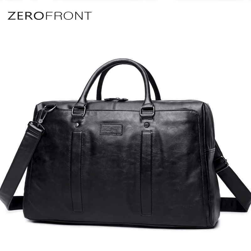 ZEROFRONT 2018 New Men Travel Duffle Bag PU Leather Multifunction Mens  Black Shoulder Handbag  Messenger Bag 15inch laptop bagZEROFRONT 2018 New Men Travel Duffle Bag PU Leather Multifunction Mens  Black Shoulder Handbag  Messenger Bag 15inch laptop bag