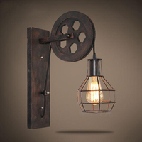 Vintage Pulley Lift LED Cage Wall Light American Rural Loft Iron Art Industrial Lamp Nordic Modern Kitchen Bar Entrance Corridor
