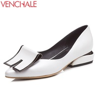 VENCHALE New Style Fashion Pumps Woman Good Quality Pointed Toe Genuind Leather Black White Low Heel