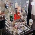 Прозрачный пластиковый органайзер для макияжа ящик для хранения ювелирных изделий Коробка для хранения косметики держатель для губной пом...
