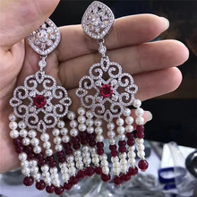 handmade boho luxury cz zircon connector charms white pearl wine red beaded dangle tassel earrings for women wedding jewelry