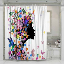 3D Color Butterfly Flowers Beach Shower Curtain Bathroom Waterproof Polyester Printing Curtains for Bathroom Shower