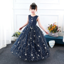 it's YiiYa Flower Girl Dresses for Wedding N Kid Party Blue Starry Printing Lace Long Comunion Dress Cotton Lining 2019 BX2802