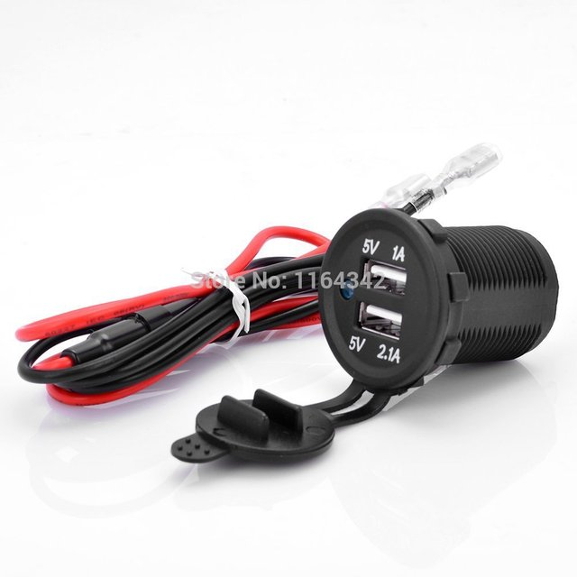 Motorcycle Waterproof Dual 2 USB Port Power Socket Mobile GPS Charger Car Boat Marine Car vans Flush Mount 12V 1A 2.1A