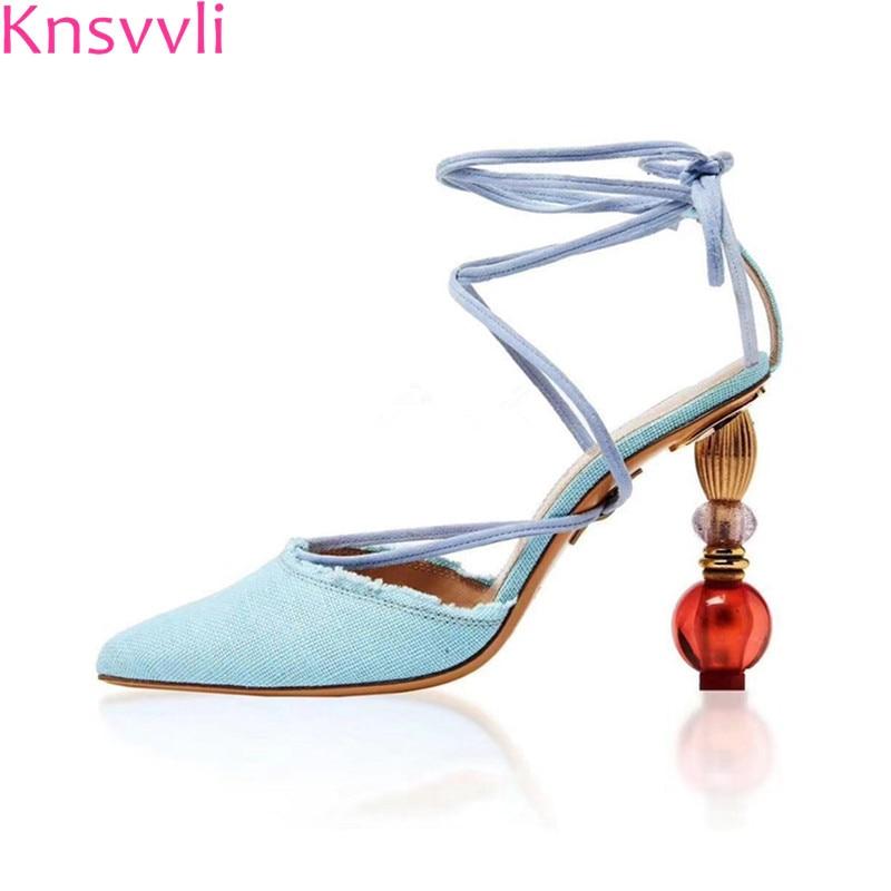 Knsvvli new high heel sandals women pumps fashion cross tied runway shoes pointy toe denim crystal