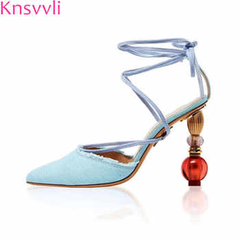 Knsvvli new high heel sandals women pumps fashion cross tied runway shoes pointy toe denim crystal strange style heel shoes sexy - DISCOUNT ITEM  53% OFF All Category