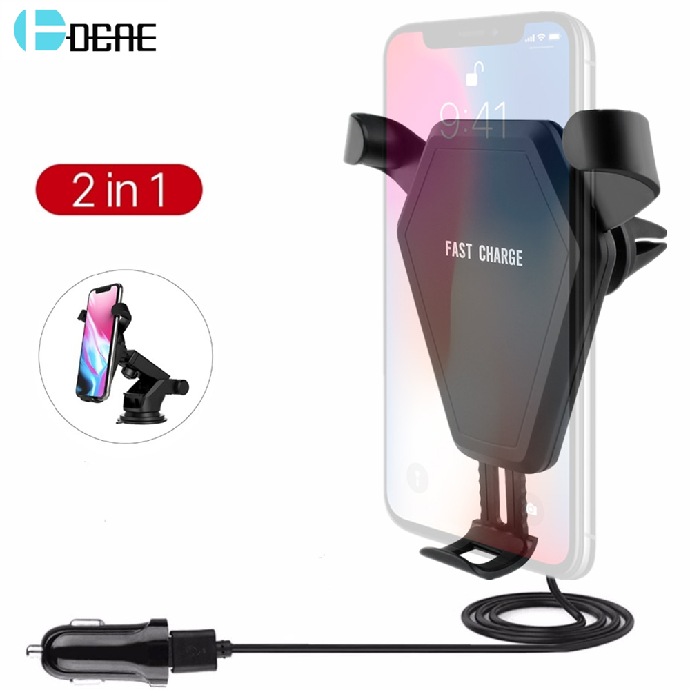 DCAE <font><b>Car</b></font> Mount <font><b>Holder</b></font> Qi Wireless Charger for iPhone 8 X Wireless <font><b>Car</b></font> Charger Pad For Samsung S9 <font><b>S8</b></font> Note 8 QC3.0 <font><b>Phone</b></font> Charging