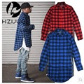 Red Blue Scottish Plaid Long Sleeve Flannel shirt Men/ Dance Bboy Shirt Golden Side Zipper/ Oversize Plaid Lengthen Shirt Man