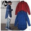 Red Blue Scottish Plaid Long Sleeve Flannel shirt Men/ Dance Bboy Shirt Golden Side Zipper/ Oversize Plaid Lengthen Shirt Man