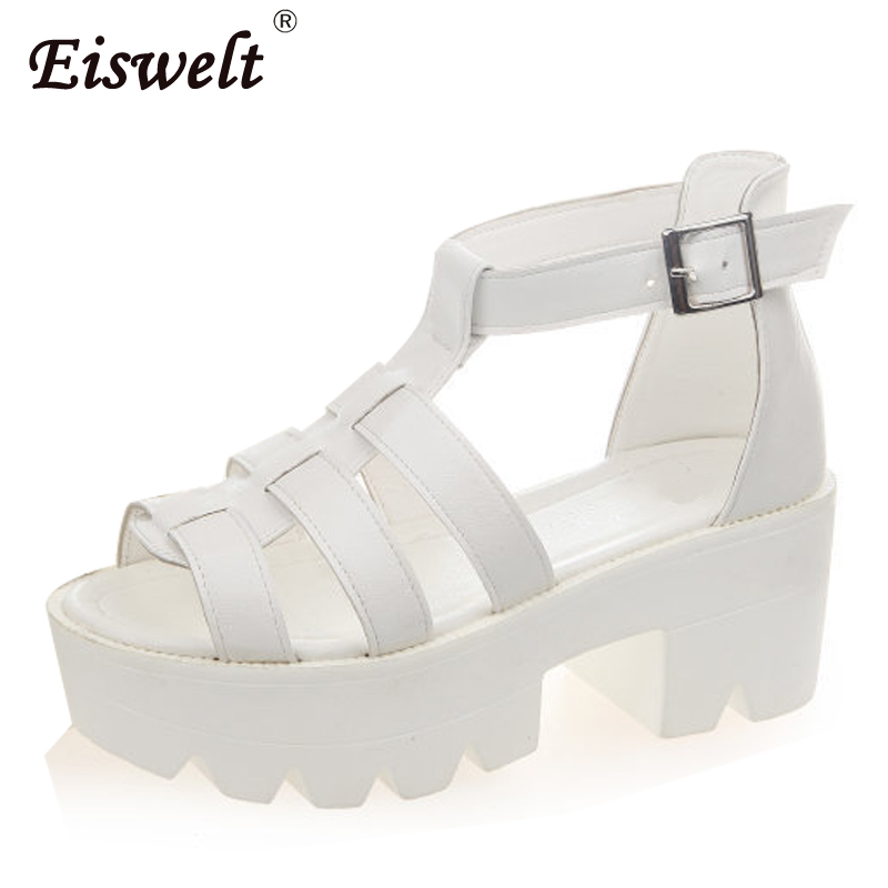 EISWELT 2017 Summer Women Casual Platform open toe Shoes Hollow Out Woman Sandals Gladiator Ladies Sandals#ZQS056 timetang 2017 leather gladiator sandals comfort creepers platform casual shoes woman summer style mother women shoes xwd5583