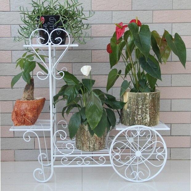 Hierro jardineras balcn titular de la maceta blanco o negro florero