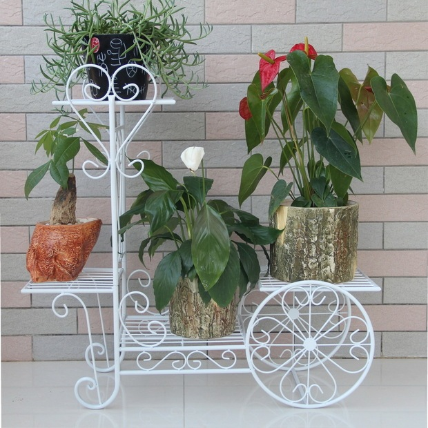 Iron Flower Stands Balcony Pot Holder White Or Black Vase Stand With Wheels Multi