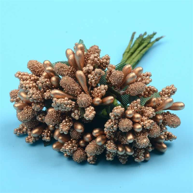 12 PCS/lot fleur artificielle étamine mûrier fil tige pour mariage décoration broderies boîte cadeau pas cher couronne faux fleurs