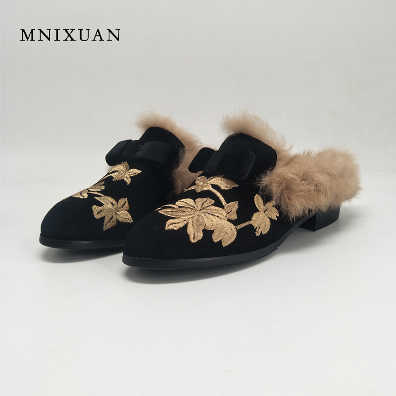 MNIXUAN mules shoes women 2017 new genuine leather slip on ladies warm fur winter flats rabbit embroidered butterfly casual flat mnixuan women shoes mules 2018 new