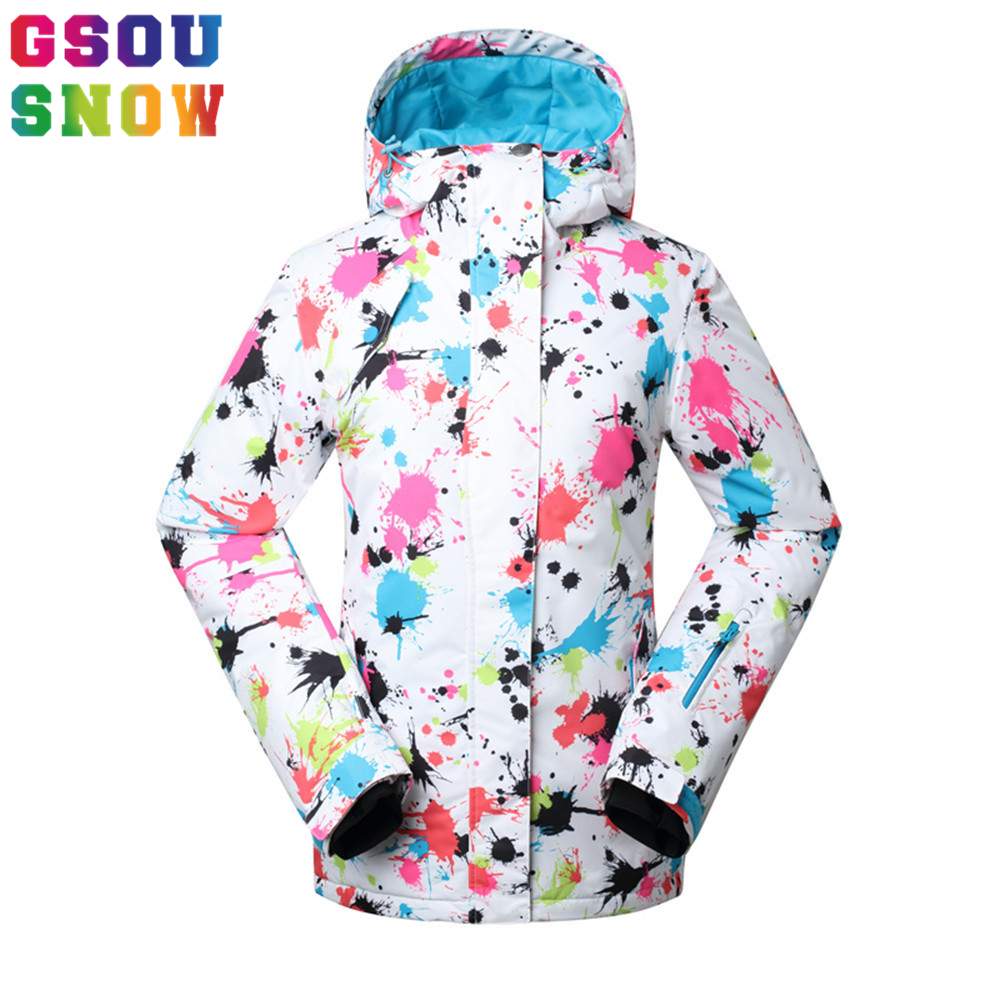 b284f74bbc Gsou Snow Brand Ski Jacket Women Winter Waterproof thermal Snowboard Jackets  Graffiti Printed Female Jackets Girl