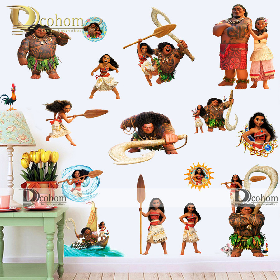 clearance cartoon moana diy wall stickers for kids rooms bathroom sticker refrigerator home decor dreamwork movie - Home Decor Clearance