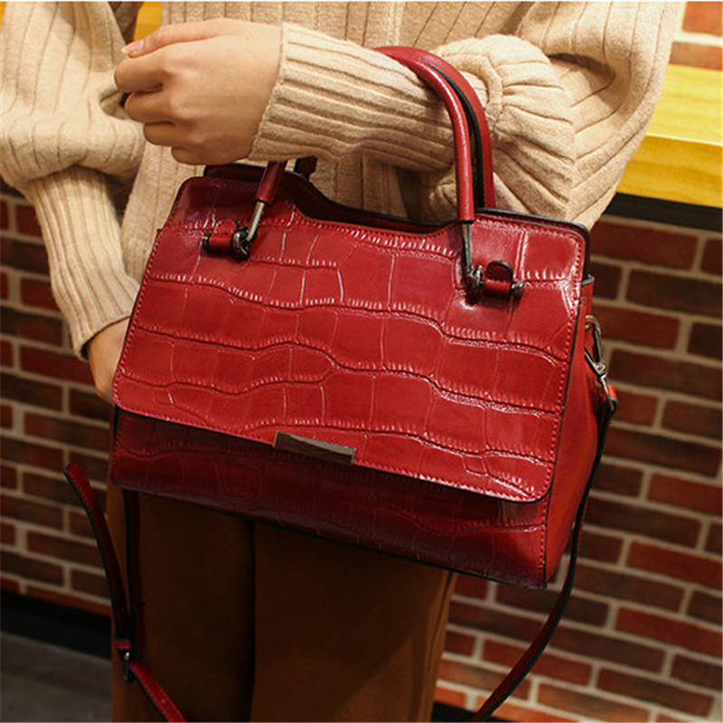 QIAOBAO 2 Straps Female Shoulder Bag Crocodile Handbag Women Famous Totes Genuine Leather Bag Ladies Crossbody Messenger Bags