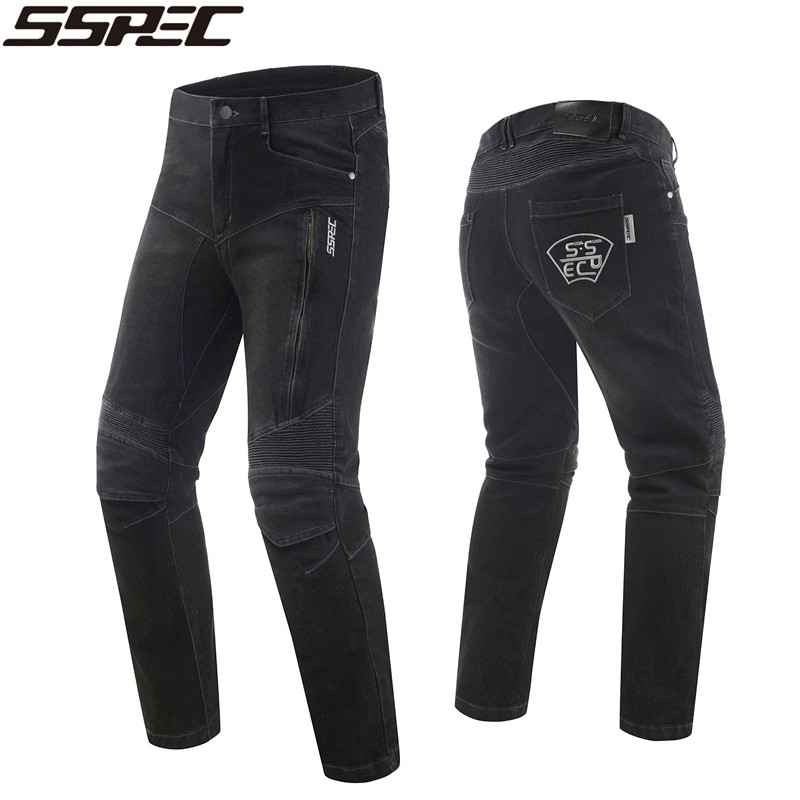 2018 SSPEC High quality Motocross jeans men's motorcycle jeans pants protection equipment moto pants racing trousers plus size straight jeans man jeans 2017 new seasons overall loose cargo pants elasticity mens long trousers plus size 28 44 bottoms