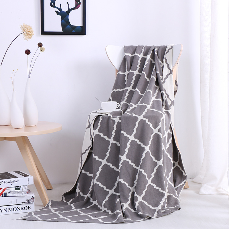 1 PCS 130x180CM Blankets Cotton Geometric Pattern Knitted Blanket For Home Beds Sofa Portable Cotton Blankets V20 big size nordic navy blue gray mixed sofa cover blanket 130 170cm simple style wearable blanket sofa towel car blanket