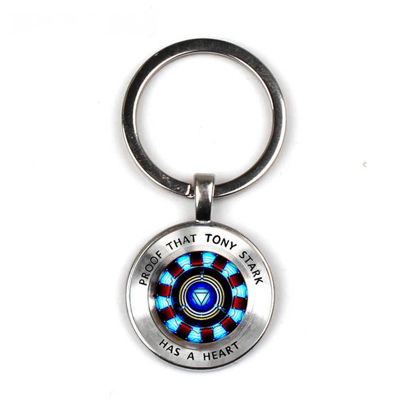Iron man, Tony Stark silver Glass dome Keychain Wholesale Glass Time Captain charm Key chain