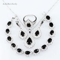 L & Bสีขาวเพทายสีดำคริสตัล925โลโก้จี้/โซ่สร้อยคอ/ต่างหู/แหวน