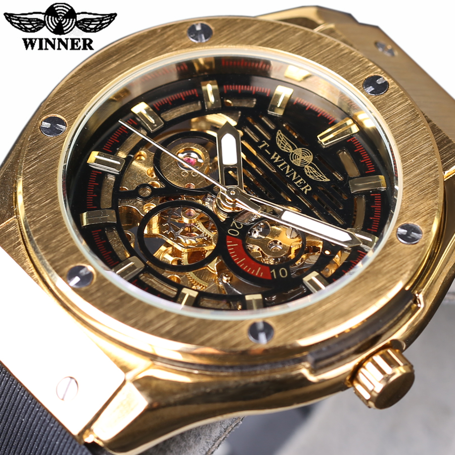Winner 3 Dial Golden Metal Series Men Watches Top Brand Luxury Automatic Watch Luxury Brand Mechanical Skeleton Male Wrist Watch winner men mechanical watch skeleton dial watches luxury golden bridge full steel minimum design male business wristwatch