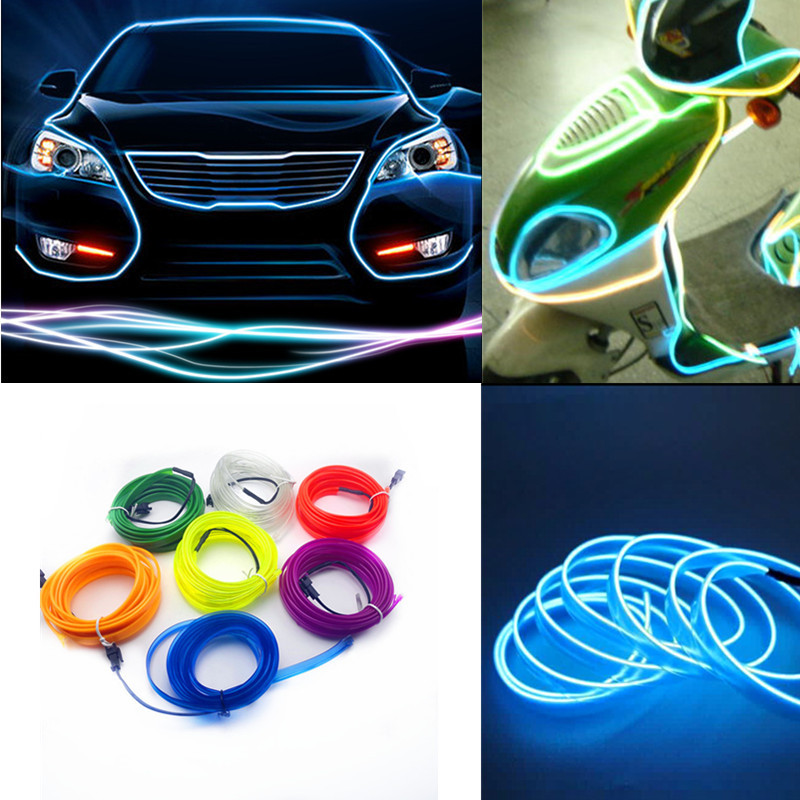 1m 2m 3m 4m 5m Car 12V LED Cold lights Flexible Neon EL Wire Auto Car Cold Light Strips Line Interior Decoration Strips lamps jurus hot sale led 1m 2m 3meters 5m neon light car decor lamp flexible el wire rope tube waterproof strip with 12v inverter
