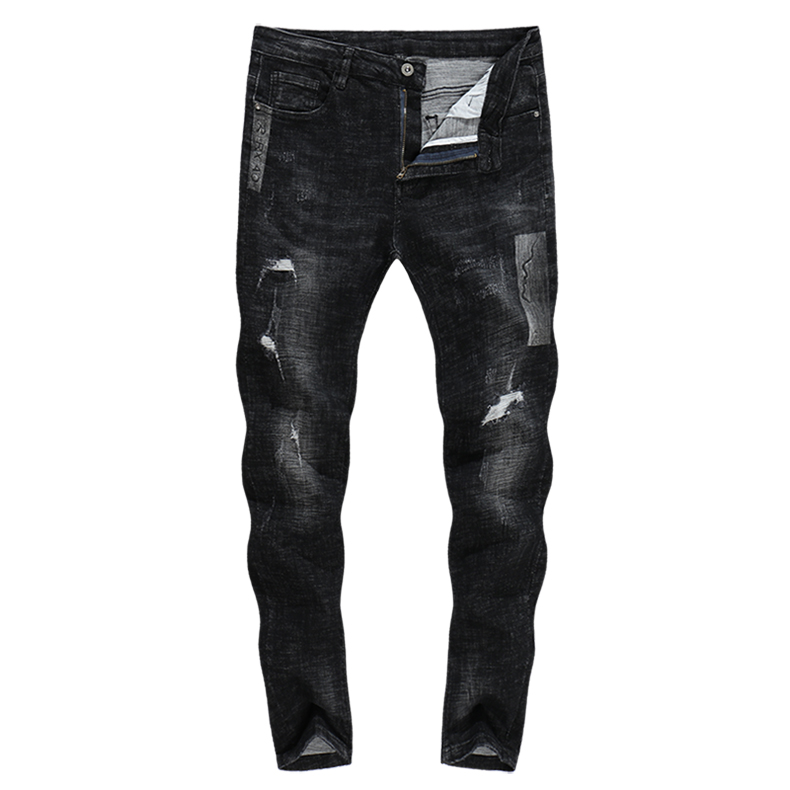 KSTUN Mens Biker Jeans Black Ripped Skinny Stretch Thick 2018 Autumn Winter Hiphop Printed Pants
