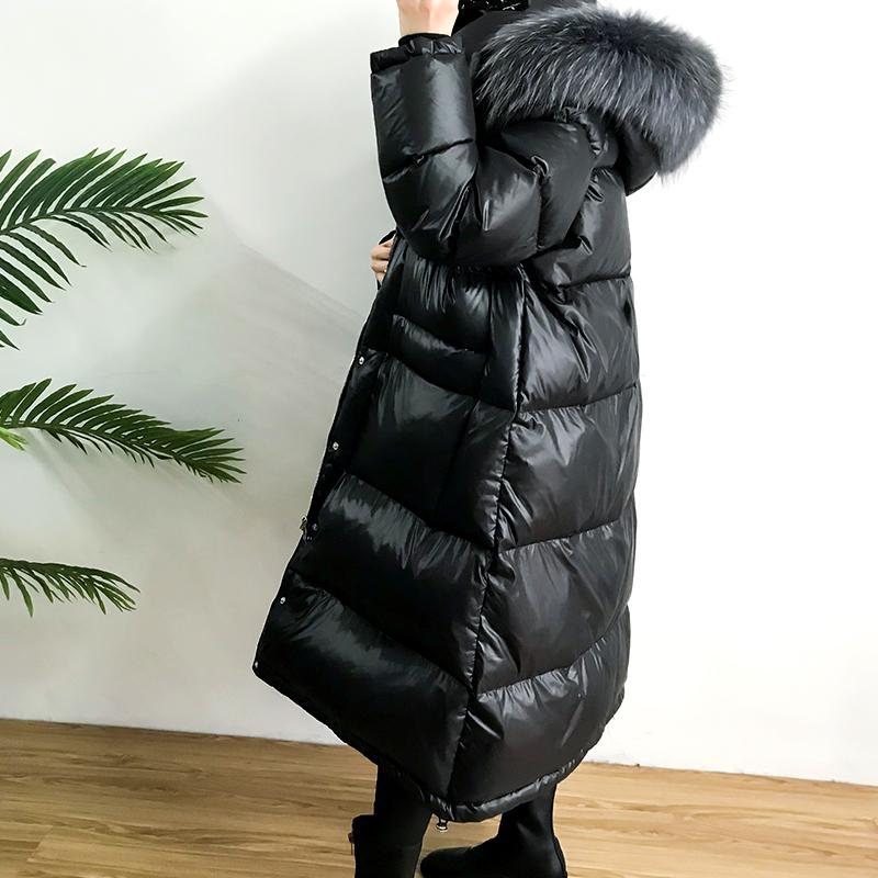 Large Real Natural Raccoon Fur 2019 Winter Women   Down   Jacket Long Thick Warm   Coat   White Duck   Down   Jacket Female Plus Size   Coat