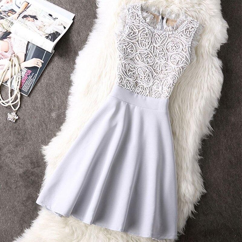 Vestidos Кружево платье элегантный Для женщин Короткие Пром Офис тонкий Платья для вечеринок Лето 2018 повседневное пляжное платье