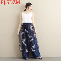 PJ.SDZM New ladies Summer Two Pieces Patchwork Red crowned Cranes Trousers National literary Art Style Straight Original Pants